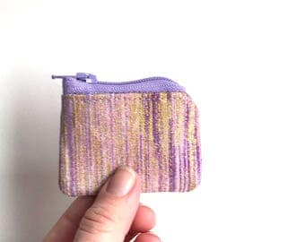 teensy tiny shimmery zipper pouch.  small coin purse. crochet knit stitch marker case. hearing aid pouch