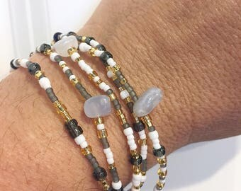 Egyptian Blue Stretch Wrap Bracelet, Necklace, Stackable, Layering Accessory, Gemstone Jewelry, Blue Lapis, Lace Agate, Grey, White, Gold