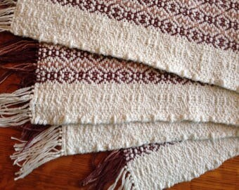 Handwoven placemats, natural with brown and tan stripes, set of 4