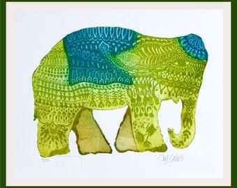 etching, Elephant, printmaking, blue and green, ethnic art, indian art, zentangle, animal print, elephant art, ellie print, print on paper