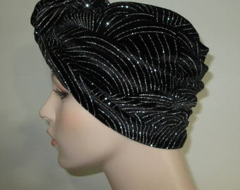 Stunning Black and Silver Stretch Turban, Chemo Hat, Cancer Turban, Womens Hat