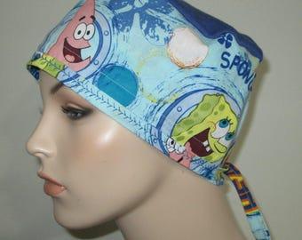 SpongeBob Scrub Cap OR Cap Pediatric Nurses Cap Surgical Cap Free Ship USA Adjustable Chemo Hat