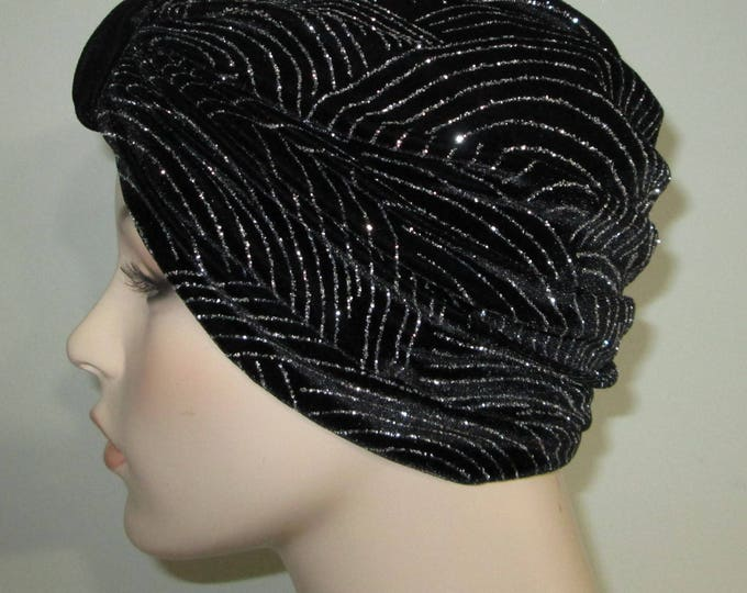 Featured listing image: Black and Silver Stretch Turban, w Black Velvet Tab Chemo Hat, Cancer Turban, Womens Hat