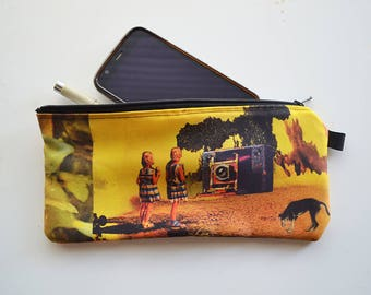 Zipper Pouch Pencil Case - their loneliness upon returning was vast- digital print collage art by livingferal