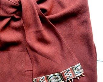 Vintage Contempo Tie Skirt - 1980's, Short skirt, Tribal skirt, Boho skirt, Summer skirt, Beaded trim, Brown, Rayon, Made in USA, Size 3-4