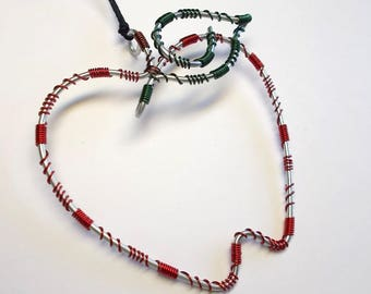 Apple Ornament . Christmas Ornament . Wire Wrapped . Original Design