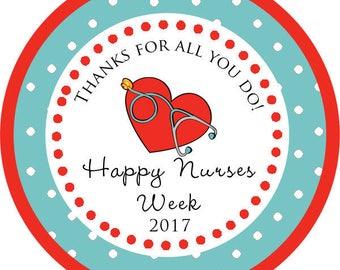 DIY Printable File- Nurse Appreciation Week Gift Nurses RN stickerThank You Stickers, Tags, Labels- Avery Label 22807