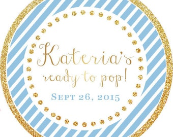 DIY Printable File- Ready to Pop! Gold Glitter Blue Stripes round sticker label- Avery Label 22807