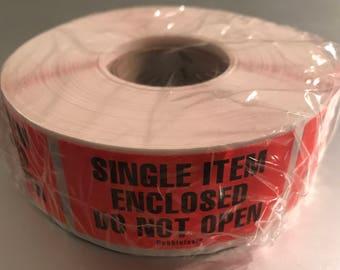 "Single Item Enclosed Do Not Open Labels 500 1"" x 2"" Orange Fluorescent FBA Labels"