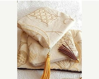 CLEARANCE - Upholstery pouch, pale yellow crewel purse, embroidered purse, zipper pouch, lined clutch, fashion accessory, womens accessory