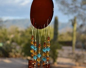 ON SALE Windchime Amber Glass Suncatcher with Sky Blue