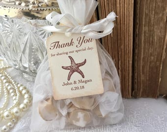 Starfish Favor Bags, Beach Favor Bags, Beach Wedding Organza Bags and Tags, Set of 10