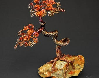 Hand Twisted Metal Copper Bonsai Wire Tree Art Sculpture  - 2279 - FREE SHIPPING