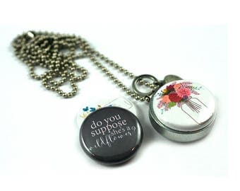 Flower Girl Locket Necklace • Gift for Flower Girl • Wildflower Locket Necklace • Mason Jar Locket • Magnetic 3 in 1 Set • Magnetic Jewelry