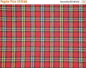 SALE SALE SALE Flawed Homespun Material | Cotton Quilt Material | Craft Material | Home Decor Material | Small Plaid Red Royal Yellow Black