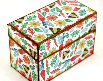 Recipe Box Wood Retro Badger Woodland Carrots Fits 4x6 Recipe Cards