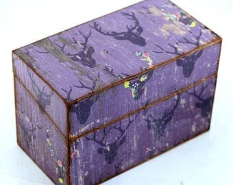 Wood Recipe Box Faux Purple Barn Wood with Deer Fits 4x6 Recipe Cards