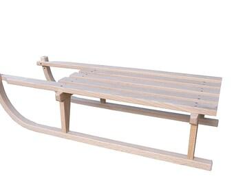 "Finished White Oak Wood Handmade Decor Sled 36"" x 16"" x 8 5/8"" Tall"