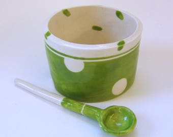 whimsical pottery Serving Bowl w/ handmade ceramic spoon lime green & white polka-dots, salt dish, condiment dish, sugar bowl