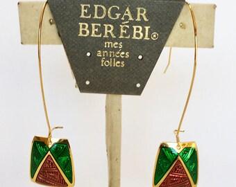 Edgar Berebi Long Green Purple Enameled Dangle Gold Tone Earrings Vintage