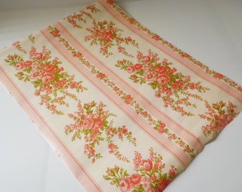 1960s Vintage Wallpaper By The Yard • Retro Floral Stripe Pattern • Vintage Pink Green Ivory Paper By the Yard