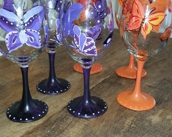 Handpainted butterfly wine glasses