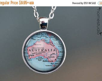 ON SALE - Australia Map : Glass Dome Necklace, Pendant or Keychain Key Ring. Gift Present metal round art photo jewelry by HomeStudio