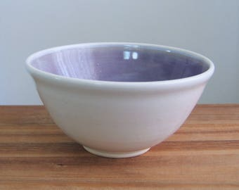 Cereal Bowl or Soup Bowl, Lavender Purple Ceramic Pottery Bowl Handmade Stoneware