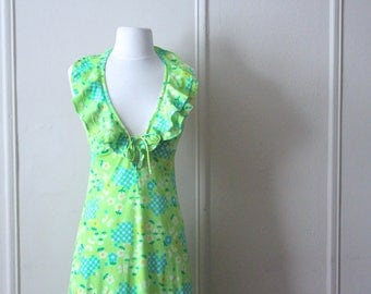 1970s vintage Halter Dress -  Bright Green Daisy and Check Print with Sassy Ruffles + Plunging Neckline, size small