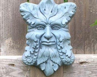Concrete Greenman Plaque (Bluestone) Garden Sculpture