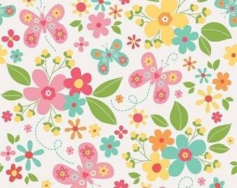 ON SALE Riley Blake Designs Garden Girl by Zoe Pearn - Main White