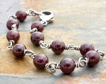 "Red Garnet Gemstone Bracelet, Sterling Silver, Wire Wrapped, January Birthday, January Birthstone, Round Garnet Stones, 1/4"" Beads,  #4815"