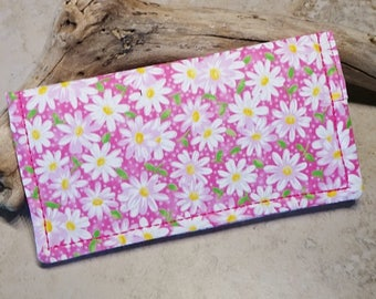Checkbook Cover, Checkbook Wallet, Pink & White Daisy Fabric Wallet, Gift for Mom, Billfold, Cottage Chic, Pink Polka Dots, Country