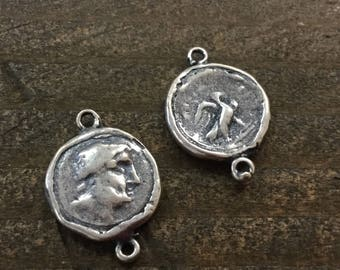 Greek Coin Link Sterling Silver Plate