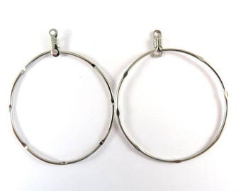 6 Notched Beading Hoop Stainless Steel Closed Hoop Drop 52x45mm Round  17g - 6 pc - M7080HP-SS6