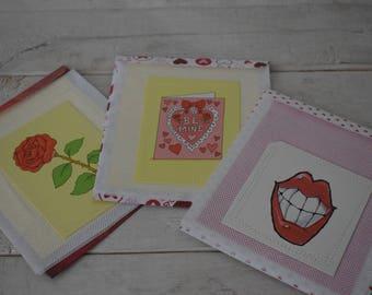 Set of 3 Handmade Love Note Cards and envelopes/ Valentines set / Gift set/ Stationery