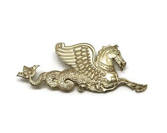 Hippocampus | Large Brass Pin | Sea Monster Pin | Large Brooch | Gift for Men