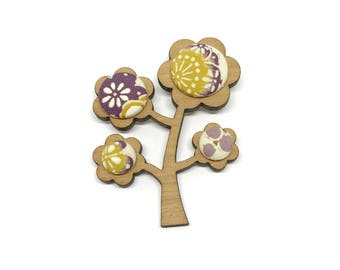 Kimono Tree Brooch - Lavender and Lemon Floral
