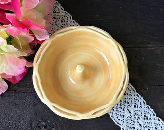 Marigold Yellow Ring Holder - Ceramic Ring Dish with Pinched Rim, Wedding Ring Holder, Engagement Ring Holder