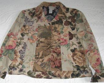 tapestry jacket . tapestry jeans jacket . Coldwater Creek . coldwater creek tapestry jacket . cabbage rose jacket . size M