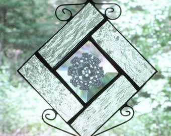 Beveled Glass Suncatcher with Vintage White Doily and Clear Textured Glass Border