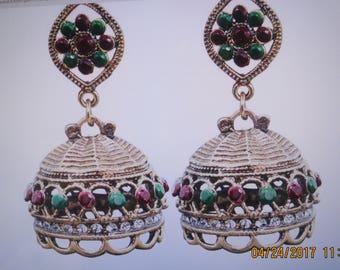 Boho pendant earrings, antique look gold plated