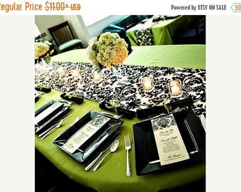 """ON SALE BLACK Ivory Damask Linens,  Table Runner, 13"""" wide, or Placemat,  13x17"""",  black ivory,  WavEss, overlays"""