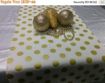ON SALE GOLD Dot Linens- Table Runner, Napkins, Placemats -Centerpiece Rounds, Squares , Gold metallic polka dots on white or black,  b