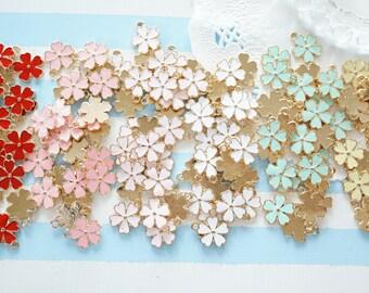 5 pcs Sakura Cherry Blossom  Charm (13mm) AZ625