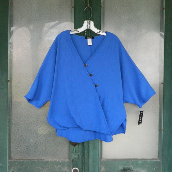 SALE 25% OFF Original Price - Yushi Cross-Button Tunic -S- Cobalt Textured Cotton/Poly/Spandex NWT