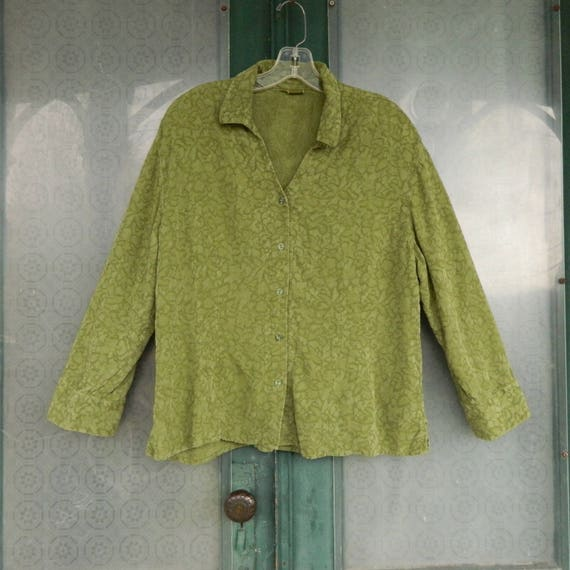 Tianello Long Sleeve Blouse -XL- Leaf Green Damask Tencel