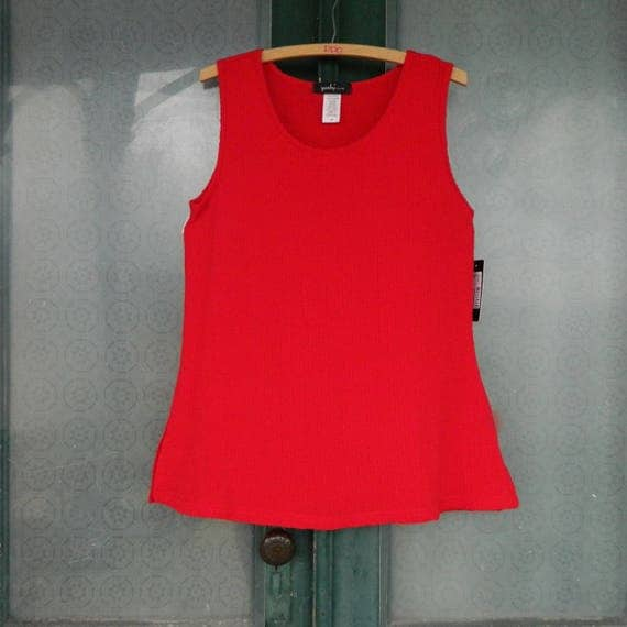 Yushi Bubble Tank Bright Red Textured Cotton/Poly/Spandex NWT