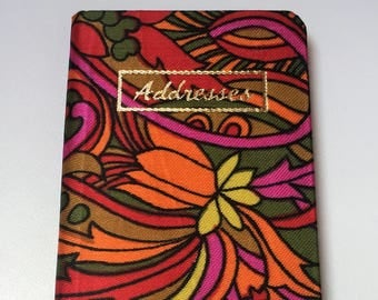 Vintage Psychedelic Floral Print Purse Sized Address Book With Fabric Cover, Vintage 1970s Small Address and Phone Number Book
