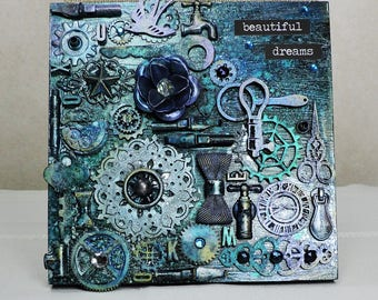 Mixed Media Collage on Wood Panel- Beautiful Dreams